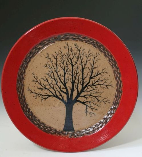 12 inch Red Tree Plate