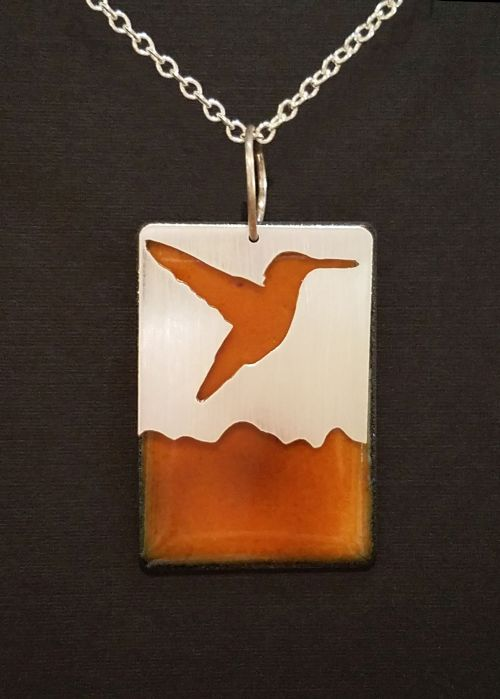 Hummingbird with Enamel Backing