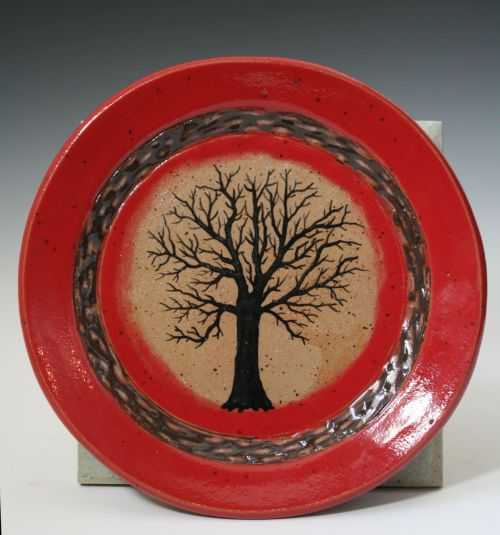 7 inch Red Tree Plate