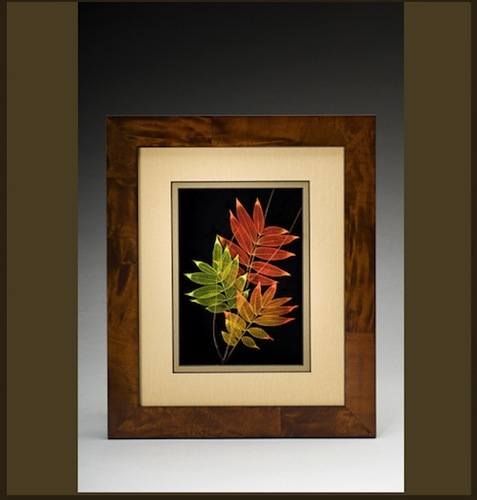 Three Leaves in Brown Frame