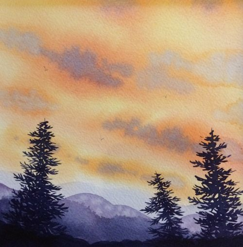 Balsam Mountain Sunset 13 x 13 Framed