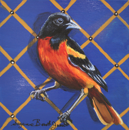 Baltimore Oriole 6 x 6 wooden block