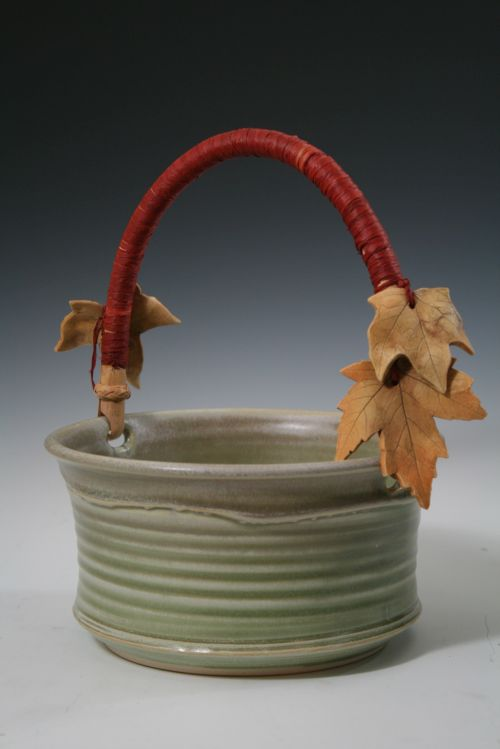 Red Bamboo Handle Basket