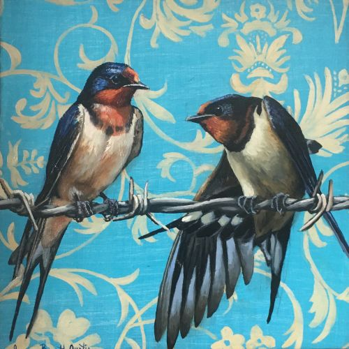 Barn Swallows on a Wire 13 x 13 Framed