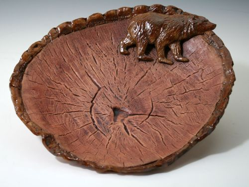 Bear on Wood Slice Platter