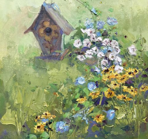 Morning Glories w/Birdhouse 12 x 12 Wrapped Canvas