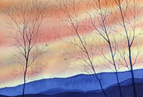 Blue Ridge Dusk 10 x 13 Framed