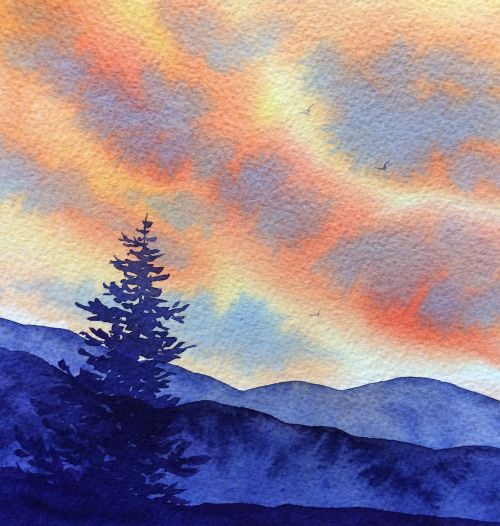 Blue Ridge Sunset 11 x 11 Framed