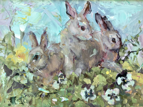 Bunnies and Pansies 17 x 21 framed
