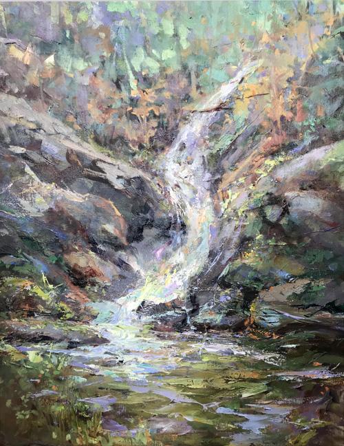 Cruso Waterfall Again 40 x 34 framed