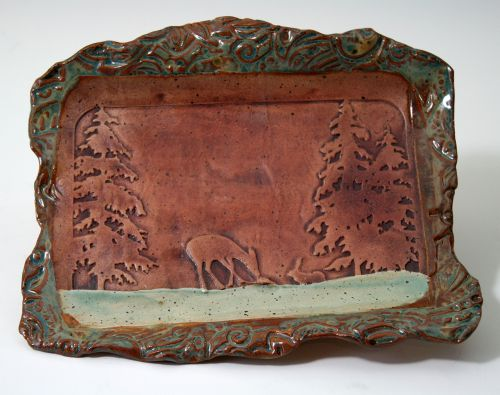 Deer and Tree Embossed Platter