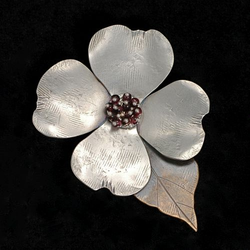 Dogwood Pendant with Garnets