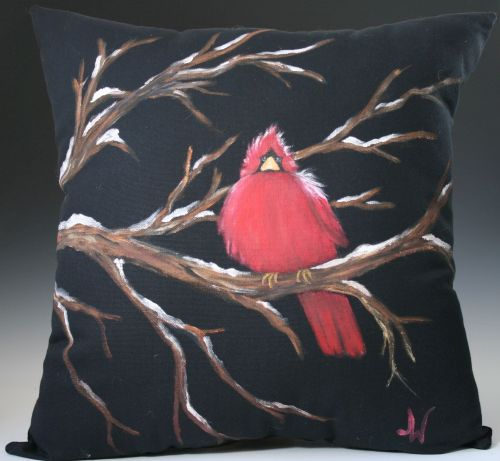 Plump Cardinal on a Limb Pillow