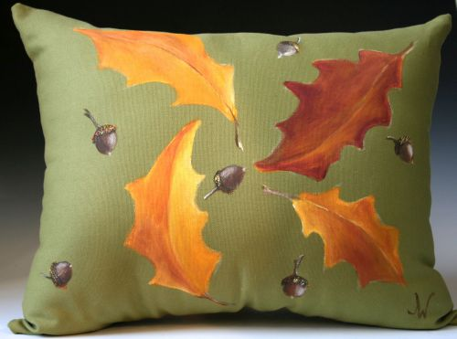 Fall Leaves and Acorns on Green Pillow