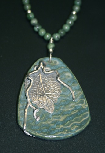 Green Leaf Overlay Necklace