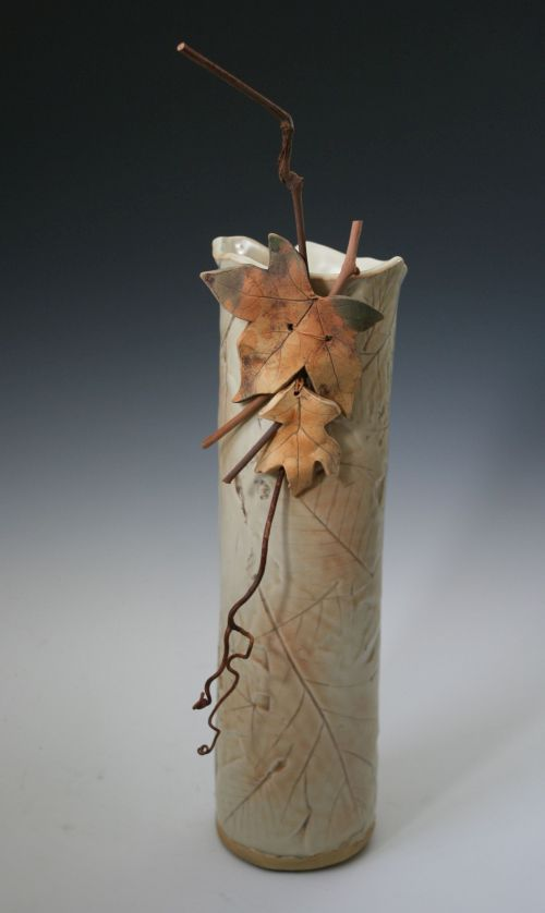Narrow Twig and Leaf Vase
