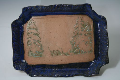 Deer and Tree Embossed Dish