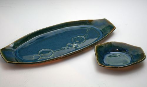 Boat Platter and Olive Bowl Blue