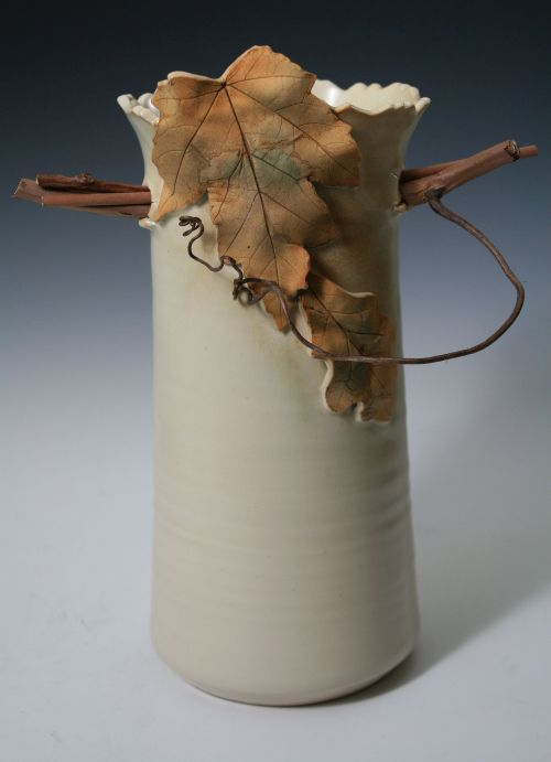 Off White Twig and Leaf Vase