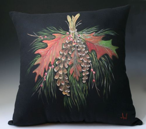 Pinecones and Oak Leaves Pillow