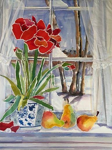 Blooming Window in Winter 37 x 30.5 Framed