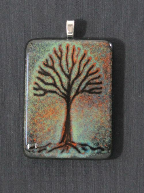 Recycled Wine Bottle Tree Pendant