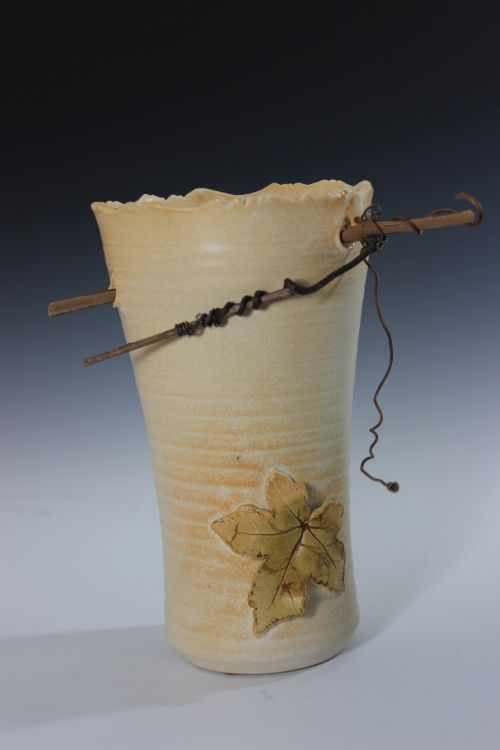 White Twig and Leaf Vase