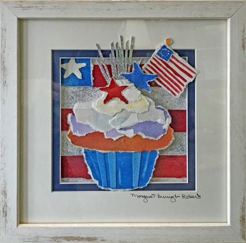 Independence Day Cupcake 10.5 x 10.5 Framed