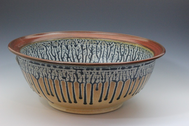 Large Bowl Ash Glaze Blue