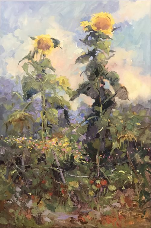 Last Sunflowers & Tomatoes 42.5 x 30.5 framed