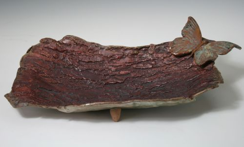Bark Platter with Butterfly