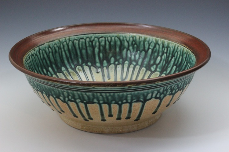 Medium Bowl Ash Glass Green