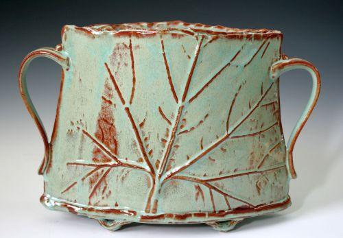 Pale Turquoise Leaf Vase