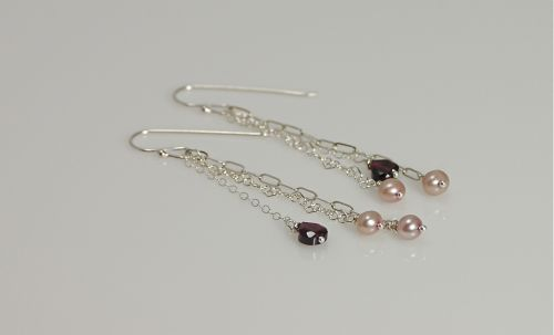 Pearl and Garnet Earrings
