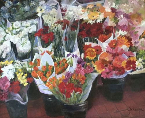 Pots of Flowers 30 x 26 framed