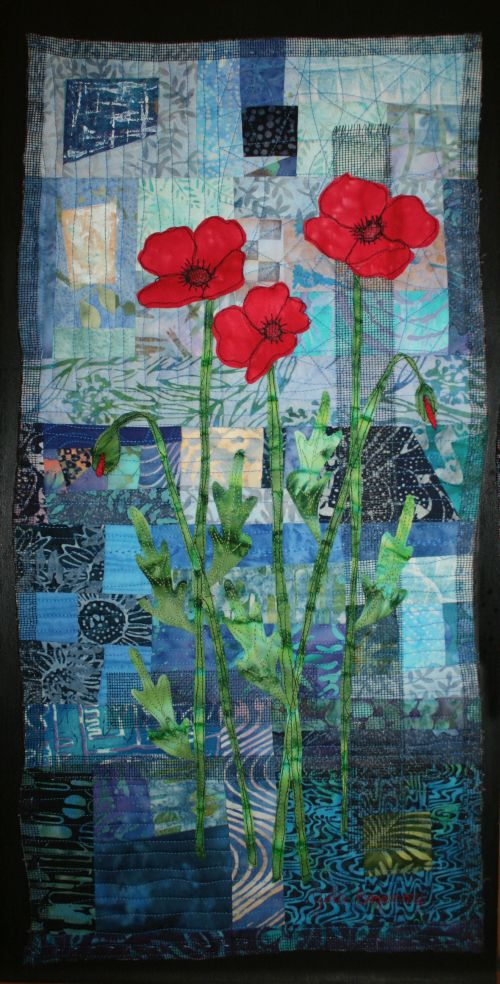 Red Poppies II 24 x 12 on wood