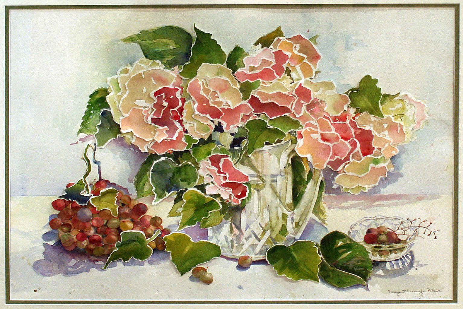 Hydrangeas and Grapes 30 x 36 Framed