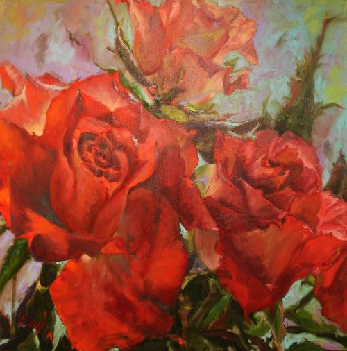Roses Roses 36 x 36 Canvas