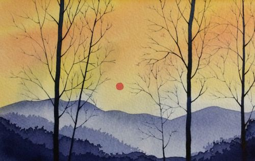 Smoky Mountain Sunset 10 x 13 Framed