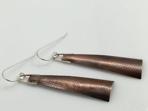 Textured Copper Long Earrings