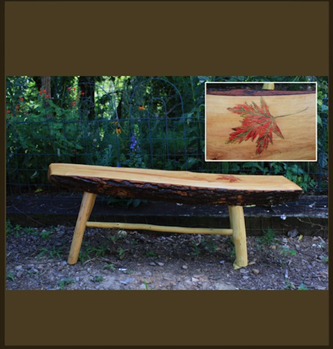 Handmade Wooden Bench with Maple Leaf Carving