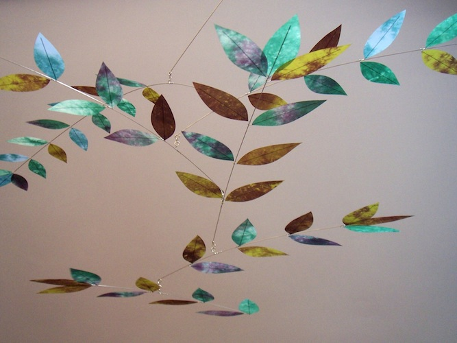 Plum-Emerald-Blue Leaf Mobile