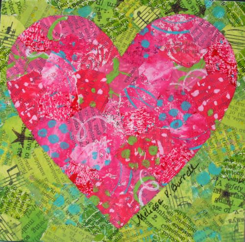 "Happy Heart Pink and Green 4"" x 4"" on Wood Panel"