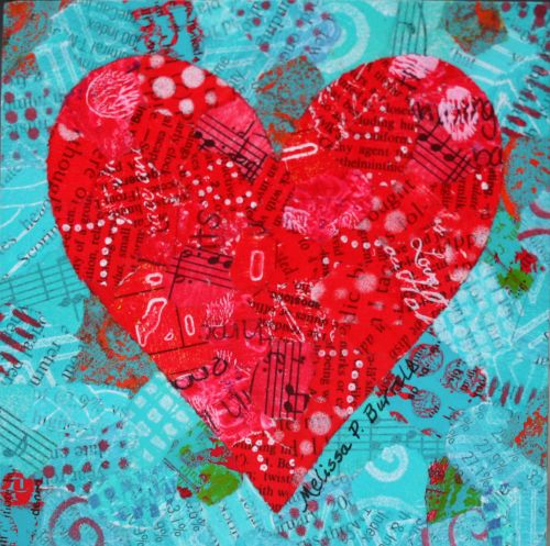 "Happy Heart Red, Turquoise, Black 4"" x 4"" on Wood Panel"