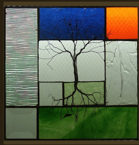 Tree with Blue/Orange Stained Glass
