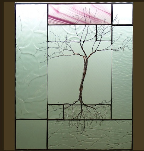 Tree with Rose Colored Stained Glass