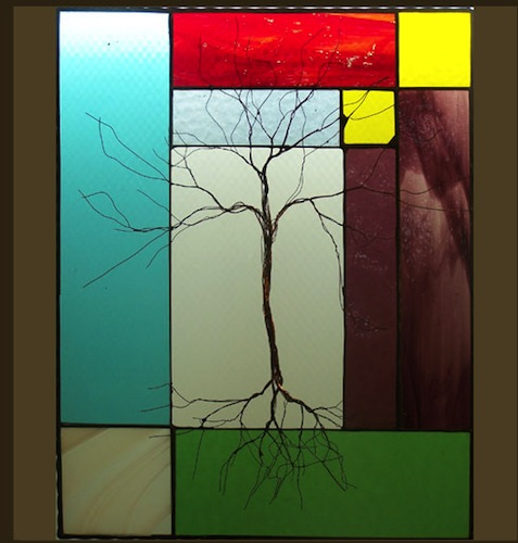 Tree with Multi-Colored Stained Glass