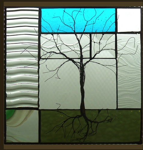 Tree with Turquoise Stained Glass